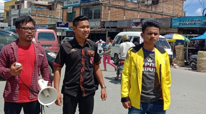 Ketua Komisariat Satuan Pelajar Mahasiswa Pemuda Pacasila (Sapma PP) , Komisariat Unita, Andry Swito Siburian (tengah). Foto: Istimewa