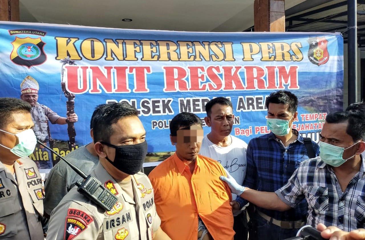 Polsek Medan Area saat konfrensi pers terkait pembunuhan di Sungai Denai. Foto: Istimewa