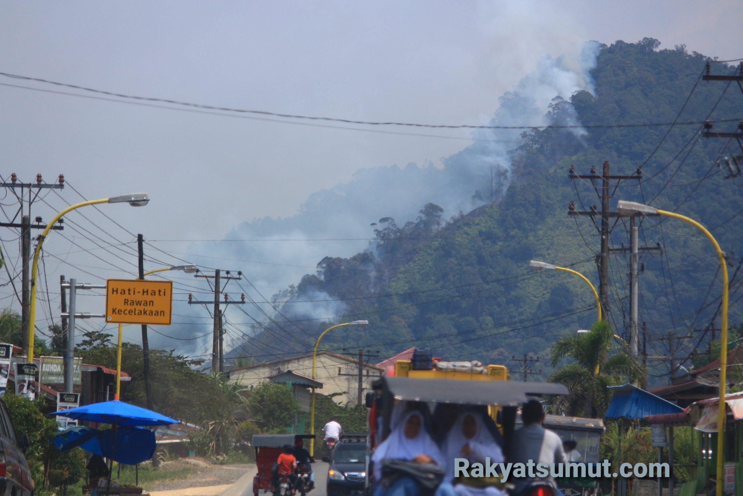 Perbukitan di Tapanuli Tengah Terbakar. Foto: Rakyatsumut.com/ Damai