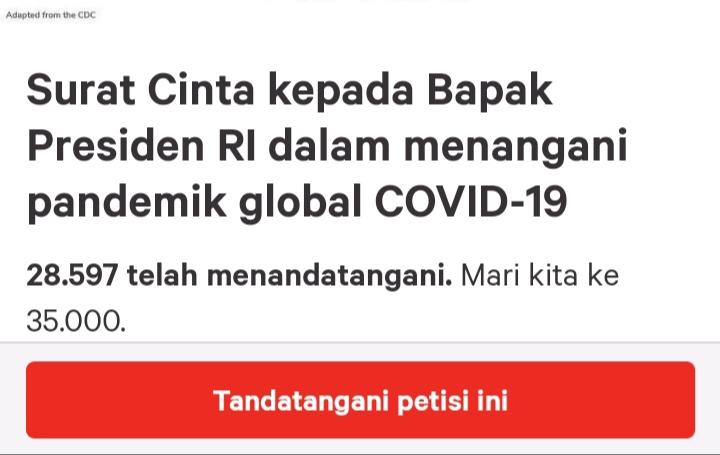 Tangkapan layar petisi dokter Amerika untuk Presiden Jokowi. Foto: Tangkapan layar