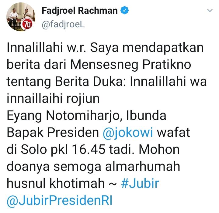 Twit Fadjroel Rachman. Foto: Tangkapan layar