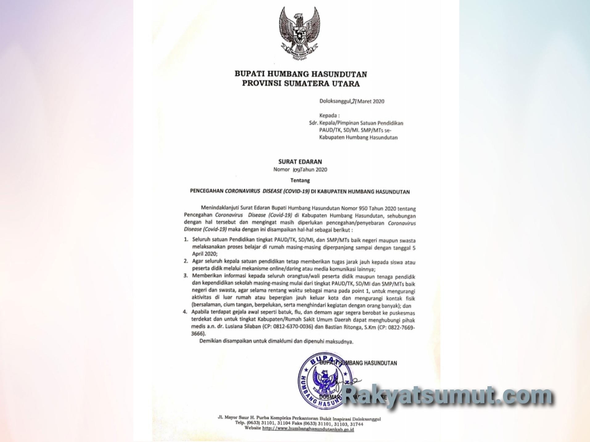 Surat Edaran Bupati Humbang Hasundutan. Foto: Tangkapan layar