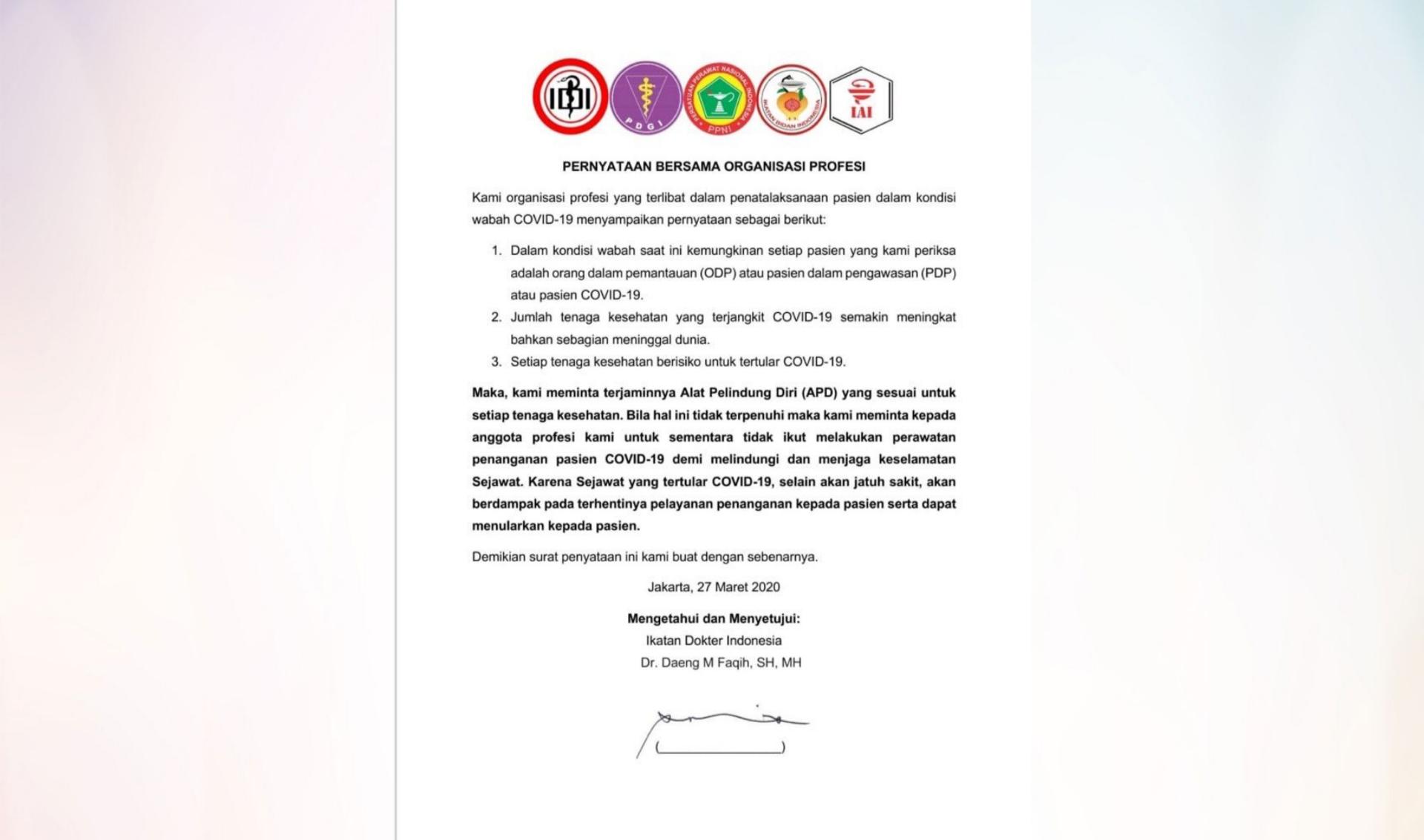 Pernyataan sikap IDI dan sejumlah organisasi profesi. Foto: Istimewa