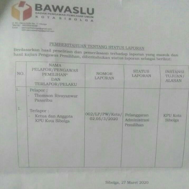 Surat putusan Bawaslu Sibolga atas pelanggaran administrasi yang dilakukan komisioner KPU Sibolga. Foto: istimewa