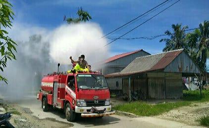 Penyemprotan disinfektan di Telukdalam, Nias Selatan. Foto: Istimewa