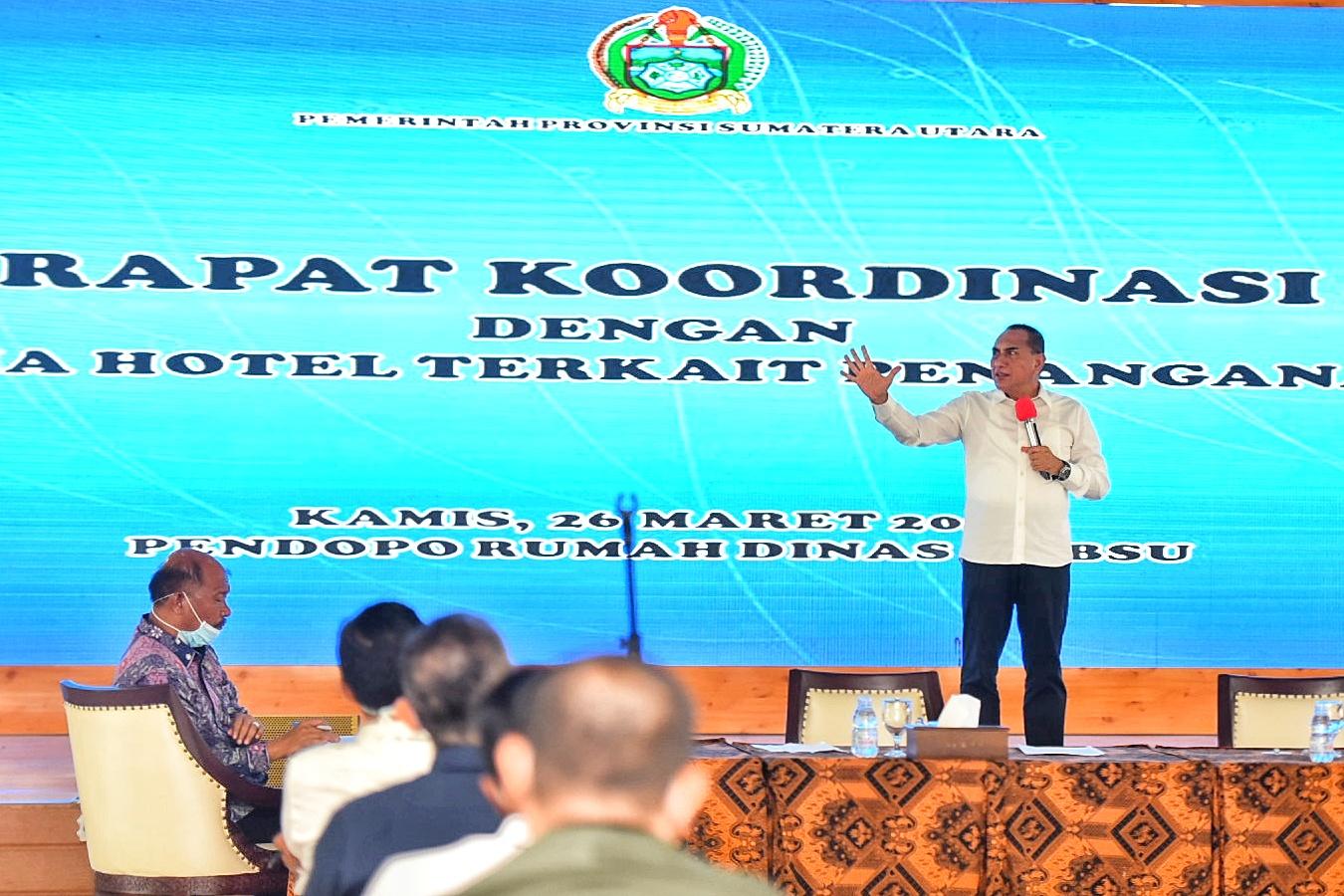 Gubernur Sumatera Utara saat rakor dengan para pelaku industri yang ada di Sumut. Foto: Biro Humas dan Keprotokolan Setdaprov Sumut/ Veri Ardian