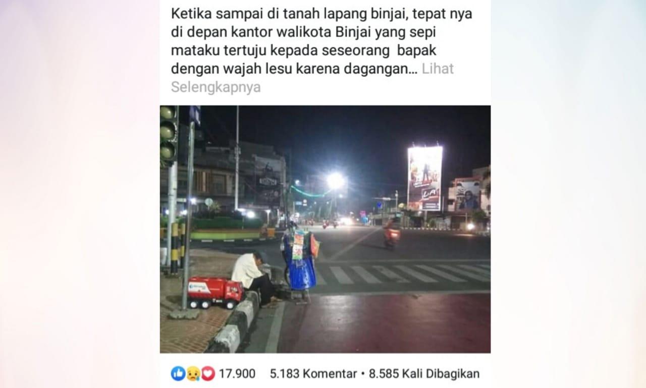 Status beserta foto seorang kakek di dinding facebook Bayu Anggoro yang menjadi viral. Foto: Tangkapan layar