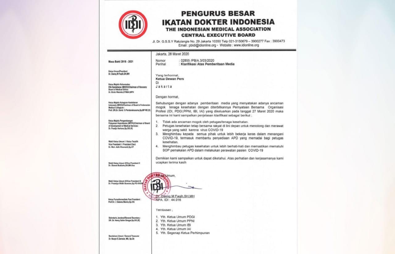 Surat IDI membantah ancam mogok tangani covid-19. Foto: Istimewa