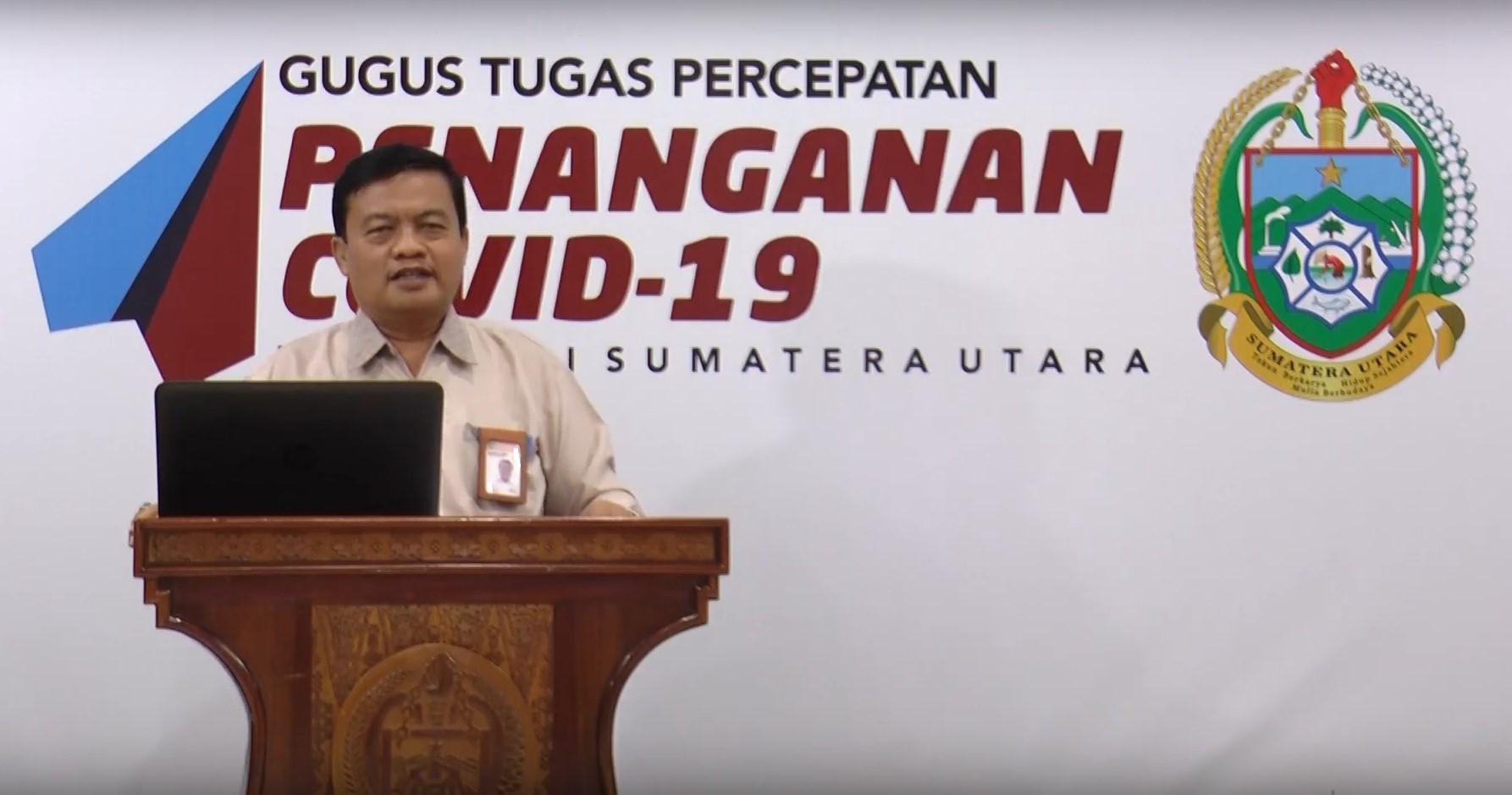 Sekretaris Panitia Peserta Didik Baru (PPDB) Dinas Pendidikan Sumut (Disdiksu) 2020 Saut Aritonang memberikan keterangan pers. Foto: istimewa