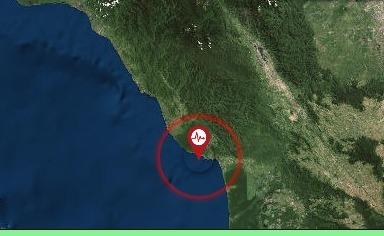 Pusat gempa di Kabupaten Aceh Selatan. Foto: Tangkapan layar