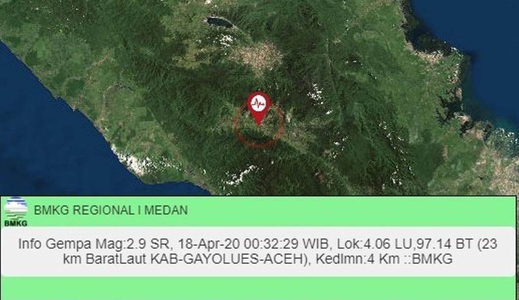 Titik gempa di Kabupaten Gayo Lues. Foto: Tangkapan layar