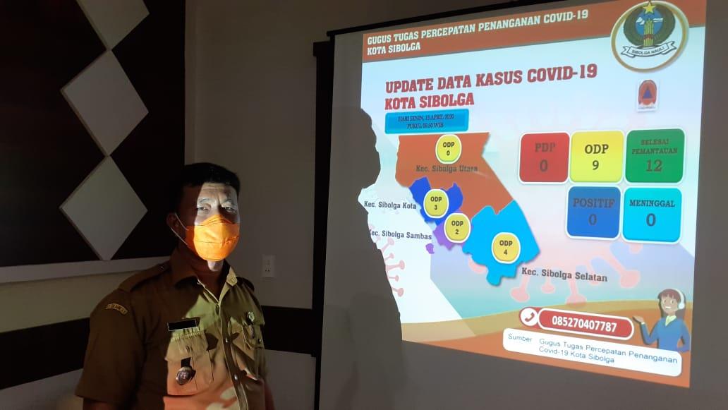 Juangon Daulay saat ditemui di ruang kerja tim gugus tugas percepatan penangan Covid-19 kota Sibolga, Senin (13/4/2020). Foto: Rakyatsumut.com/ Mirwan Tanjung