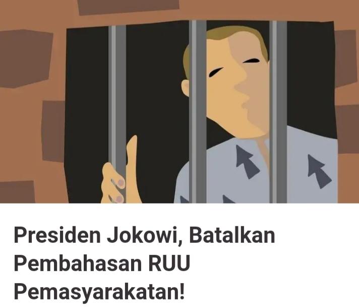 Petisi online menuntut Presiden membatalkan RUU Pemasyarakatan. Foto: Tangkapan layar