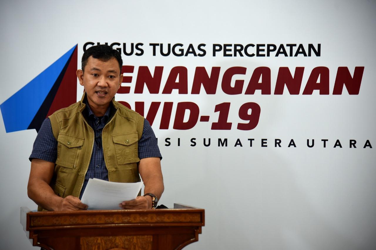 Jubir Gugus Tugas Percepatan Covid-19 Sumatera Utara Whiko Irwan. Foto: Biro Humas dan Keprotokolan Setdaprovsu/ Fahmi Aulia