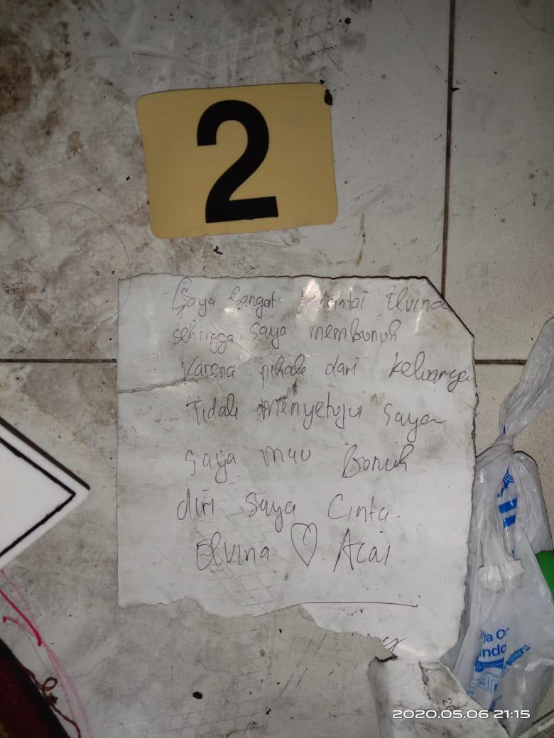Barang bukti sepucuk surat yang ditemukan polisi dari lokasi penemuan jasad korban di Cemara Asri. Foto: Istimewa
