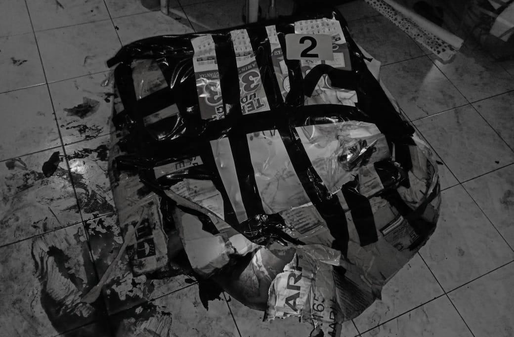 Barang bukti kardus yang dijadikan pembungkus jenazah korban saat ditemukan di Komplek Cemara Asri. Foto: Istimewa