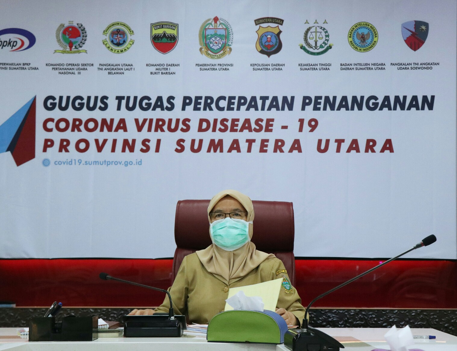 Sekretaris Daerah Provinsi Sumatera Utara R Sabrina mengikuti video conference webinar. Foto: istimewa