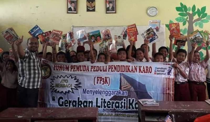 Kegiatan literasi yang digelar FP3K di satu sekolah di Tanah Karo. Foto: Istimewa