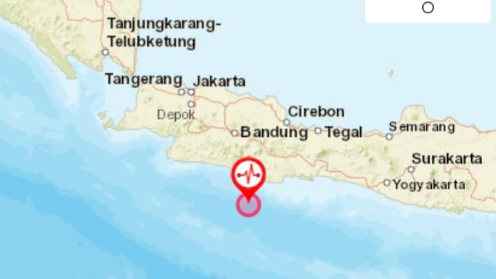 Pusat gempa di laut Pangandaran. Foto: Tangkapan layar