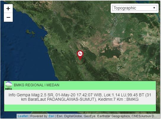Peta lokasi gempa di Padang Lawas Sumatera Utara. Foto: BMKG