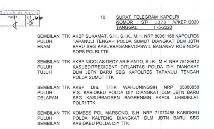 Telegram Pemutasian 271 Pati Polri di Indonesia. Foto: Tangkapan layar