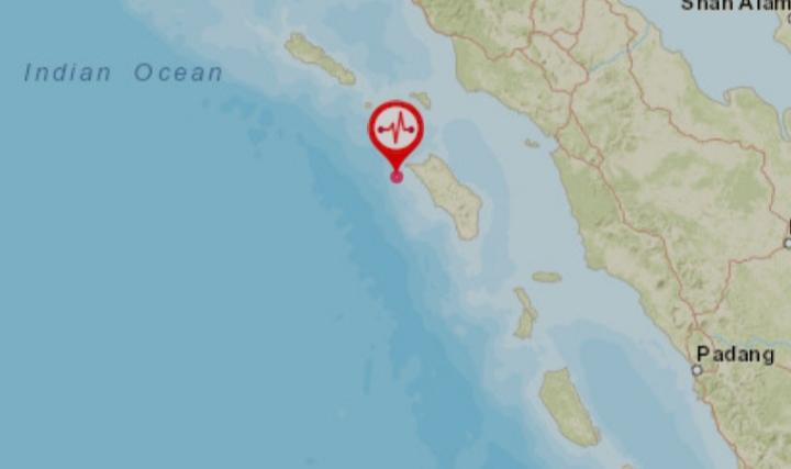 Pusat gempa 5.0 Skala Richter di Nias Utara. Foto: Tangkapan layar