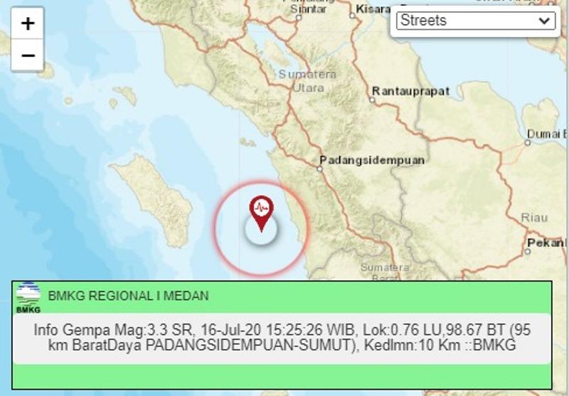 Titik gempa di Padangsidimpuan. Foto: tangkapan layar