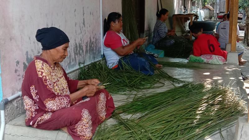 Ibu-ibu rumah tangga, warga Desa Sihopuk Baru, Kec. Haltim, Kabupaten Paluta, Sumatera Utara, sedang asik mengarit lidi sawit. Foto : Rakyatsumut.com/ Rifai Dalimunthe