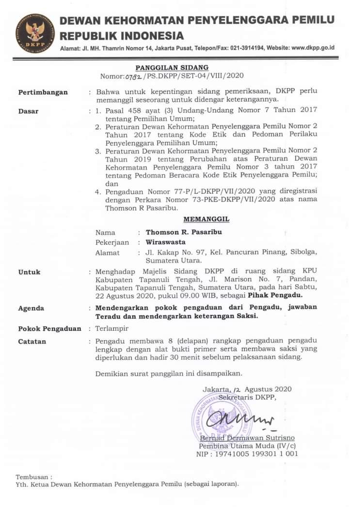Surat panggilan terhadap pelapor Thomson Pasaribu. Foto: istimewa