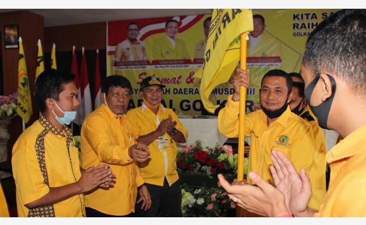 Andar Amin terpilih secara aklamasi sebagai Ketua Golkar Paluta periode 2020-2025, pada Musda III Golkar Paluta. Foto: Rakyatsumut.com/ Rifai Dalimunthe.