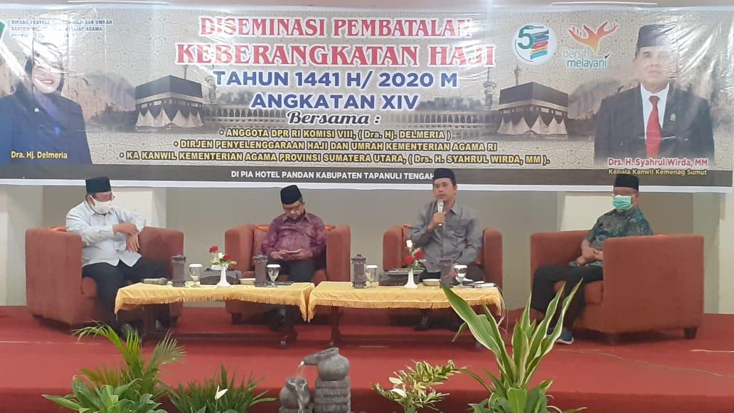 Kabag TU Kanwil Sumatera Utara Muhammad David Saragih saat memaparkan terkait Diseminasi Pembatalan Haji tahun 2020. Foto: Rakyatsumut.com/ Mirwan