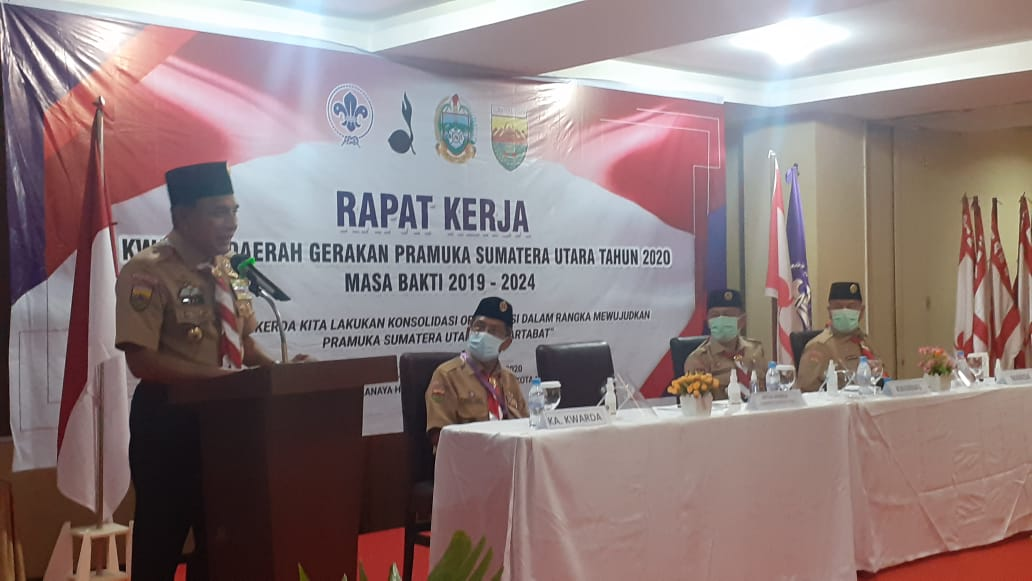 Gubernur Sumatera Utara Edy Rahmayadi dan juga selaku Kamabida saat menyampaiakan kata sambutan. Foto: Rakyatsumut.com/ Rommy