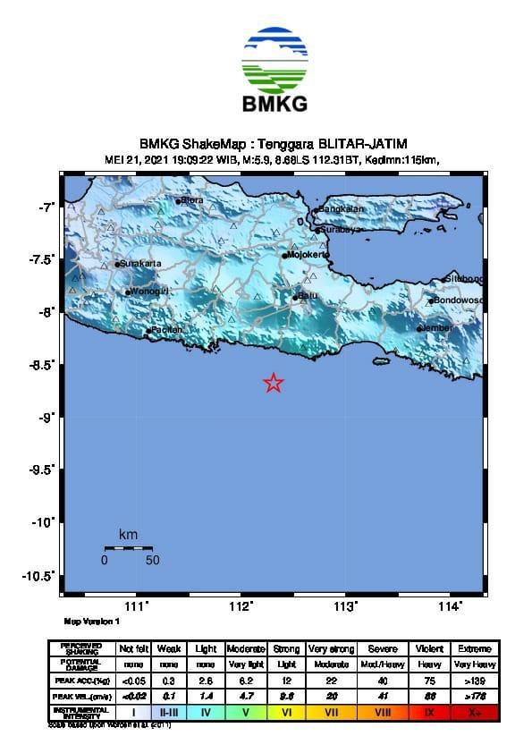 Pusat gempa Jatim. Foto: BNPB Indonesia