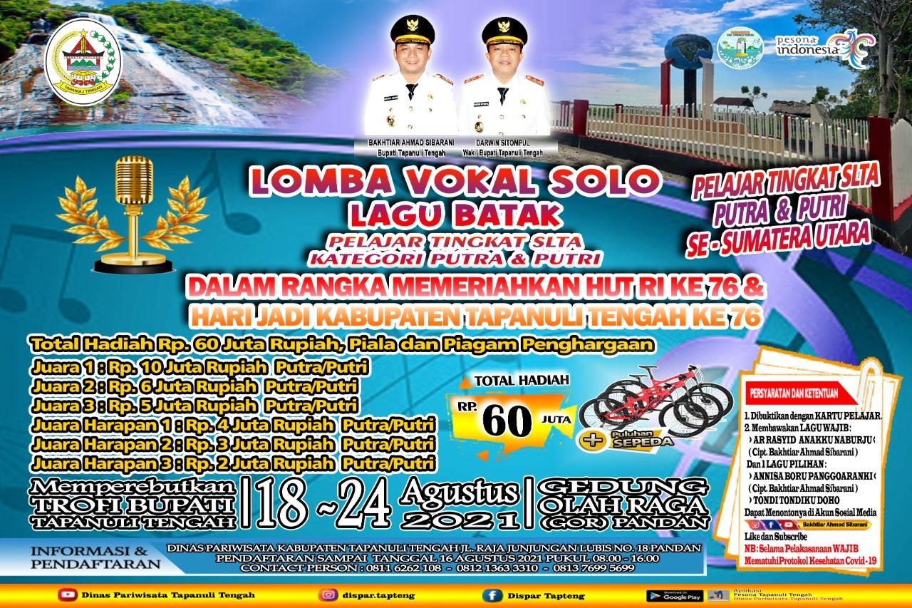 Flyer Lomba memeriahkan HUT RI dan HUT Pemkab Tapteng ke 76. Foto: Istimewa